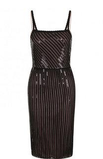 Приталенное мини-платье на бретельках с пайетками No. 21