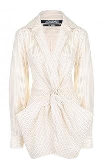 Мини-платье из смеси хлопка и льна в полоску Jacquemus
