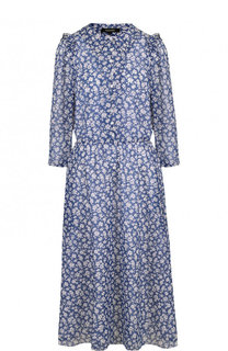 Приталенное шелковое платье-миди с принтом Poustovit
