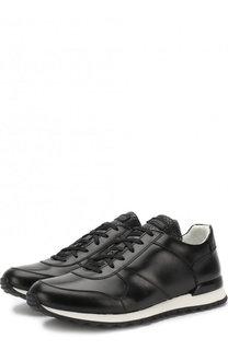 Кожаные кроссовки на шнуровке с вставкой из кожи крокодила Kiton