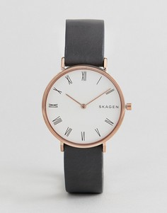 Часы с серым узким кожаным ремешком Skagen SKW2674 - Черный