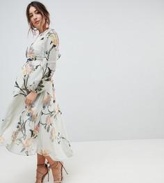 Платье с длинными рукавами и кружевной отделкой Hope & Ivy Maternity - Мульти
