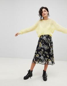 Черная юбка миди с цветочным принтом Gestuz - Мульти
