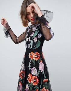 Платье макси с цветочной вышивкой ASOS EDITION - Черный