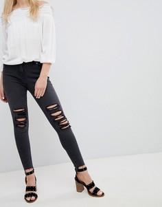 Рваные зауженные джинсы Parisian - Серый