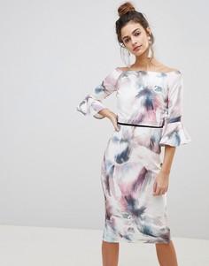 Платье-футляр с акварельным принтом и рукавами клеш Little Mistress - Мульти