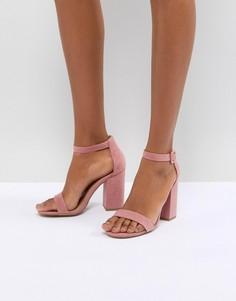 Босоножки из искусственной замши на блочном каблуке New Look - Розовый