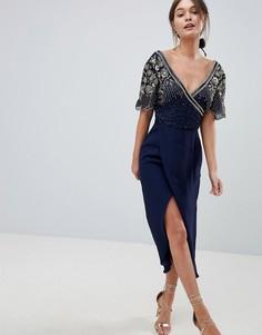 Декорированное платье миди с запахом Virgos Lounge Julisa - Темно-синий