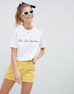 Белая укороченная футболка с принтом oui darling ASOS DESIGN - Белый