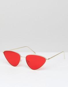 Солнцезащитные очки кошачий глаз с красными стеклами ASOS - Золотой