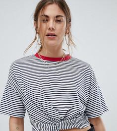 Укороченная футболка в полоску с завязками Wednesdays Girl - Мульти
