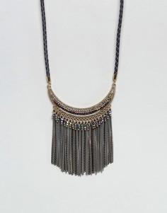 Броское ожерелье с бахромой Nylon - Черный