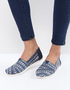 Темно-синие туфли с узором батик TOMS Alpargata - Синий