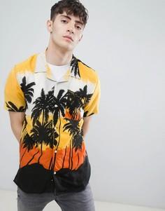 Рубашка с пальмовым принтом и отложным воротником D-Struct - Оранжевый