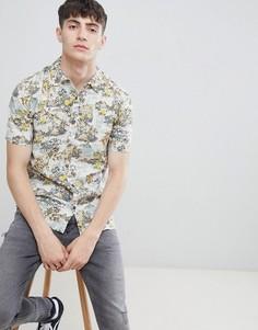Рубашка с короткими рукавами и тропическим принтом D-Struct - Розовый