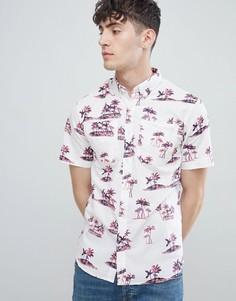 Рубашка с короткими рукавами и тропическим принтом D-Struct - Черный