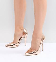 Туфли на высоком каблуке для широкой стопы с острым носком London Rebel - Золотой