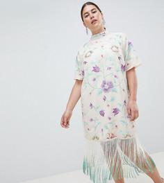 Платье миди с вышивкой и отделкой бахромой ASOS DESIGN Curve - Мульти