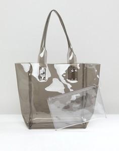 Прозрачная серая сумка-тоут с клатчем Chateau - Серый