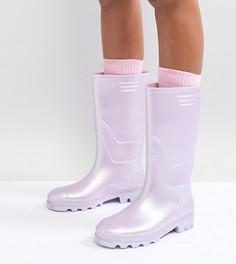 Высокие резиновые сапоги в винтажном стиле Juju - Розовый