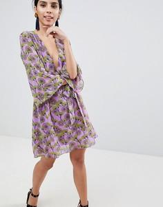 Платье с V-образным вырезом и рукавами кимоно Liquorish - Фиолетовый