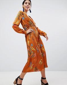 Атласное платье миди с плиссированной юбкой и принтом Liquorish - Рыжий