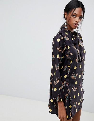 Свободное платье в горошек с принтом птиц Liquorish - Черный