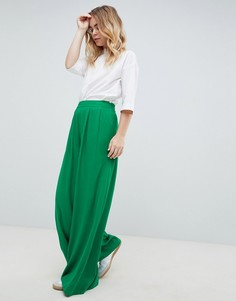 Зеленые брюки с широкими штанинами ASOS DESIGN Tailored - Зеленый