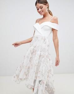 Премиум-платье для выпускного с 3D-цветами ASOS DESIGN - Белый