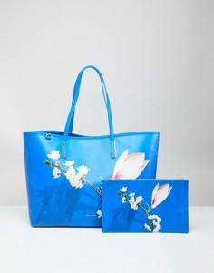 Сумка-тоут с покрытием и цветочной отделкой Ted Baker - Синий