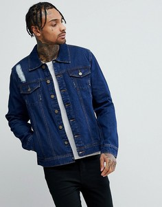 Темная джинсовая куртка с рваной отделкой Hoxton - Синий