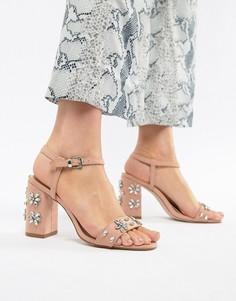 Босоножки на каблуке с отделкой Miss KG - Бежевый