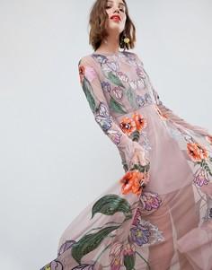 Платье макси с цветочной вышивкой ASOS EDITION - Розовый