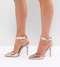 Туфли на каблуке с прозрачным ремешком QUPID - Золотой