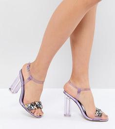 Декорированные босоножки на каблуке QUPID - Фиолетовый