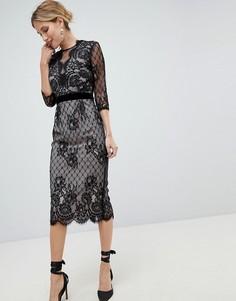Черное кружевное облегающее платье Little Mistress - Черный