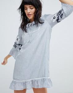 Свободное платье с цветочной вышивкой Hazel - Синий