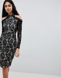 Кружевное платье-футляр с длинными рукавами и вырезами на плечах AX Paris - Мульти