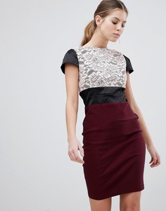 Платье-футляр с кружевной вставкой Vesper - Фиолетовый