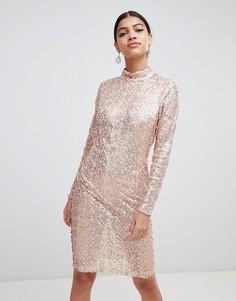 Облегающее платье с пайетками AX Paris - Розовый