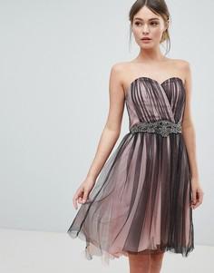 Платье с асимметричным краем и декорированной талией Little Mistress - Розовый