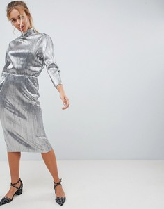 Серебристое плиссированное платье с высоким воротником First & I - Серебряный