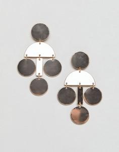 Серьги бронзового цвета с геометрической отделкой Nylon - Золотой