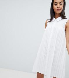 Свободное хлопковое платье-рубашка мини с плиссировкой ASOS DESIGN Tall - Белый