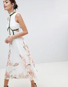 Короткое приталенное платье с бархатной отделкой Hope & Ivy - Розовый