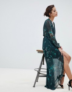 Платье с длинными рукавами и запахом Hope & Ivy - Зеленый