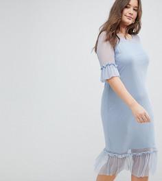 Сетчатое ярусное платье с оборками Junarose - Синий