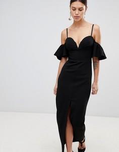 Платье макси с оборками на рукавах и разрезом Forever Unique - Черный