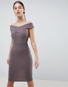 Платье-футляр миди с перекрестом AX Paris - Серый