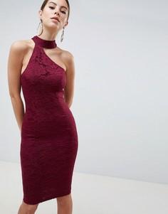 Кружевное платье миди с вырезом AX Paris - Фиолетовый